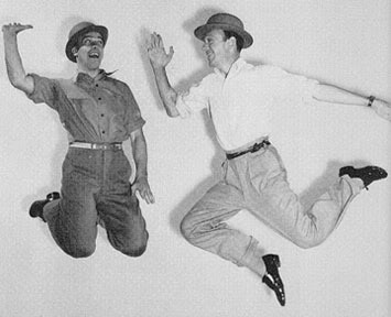 Gene Kelly (left) and Fred Astaire rehearsing a number for The Ziegfeld Follies (1946).