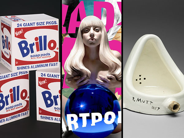 Andy Warhol´s Brillo Boxes, 1964; cover art for Lady Gaga´s ARTPOP, and Marcel Duchamp´s 1917 Fountain.