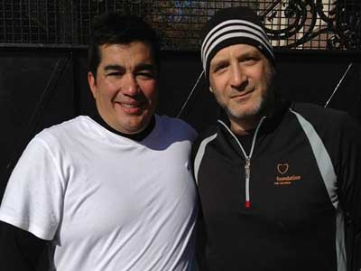 Jose Garces and Marc Vetri before the Thanksgiving Day game, 2012.