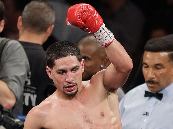 Danny Garcia reacts after defeating Lucas Matthysse during a WBC and<br />WBA super lightweight title fight, Saturday, Sept. 14, 2013, in Las<br />Vegas. (AP Photo/Isaac Brekken)