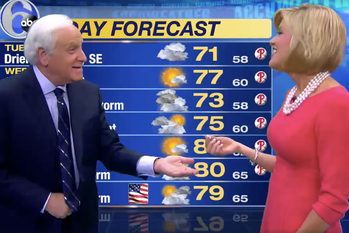 "Jim Gardner hands over Cecily Tynan´s lost earring during a live broadcast of ""Action News."""
