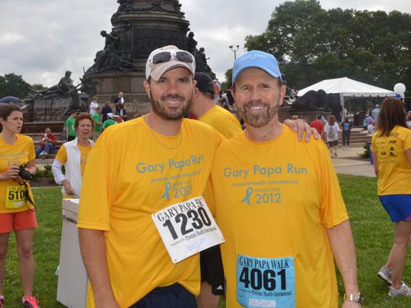 Bob (right) and his son Robert after the 2012 Gary Papa Run.