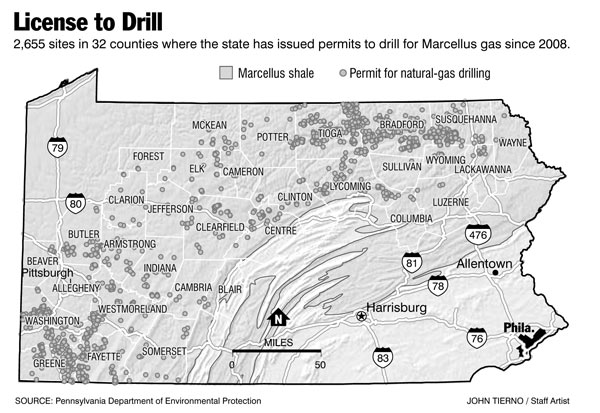 Inquirer graphic: see all of the sites where the state has issued drilling permits for Marcellus gas.