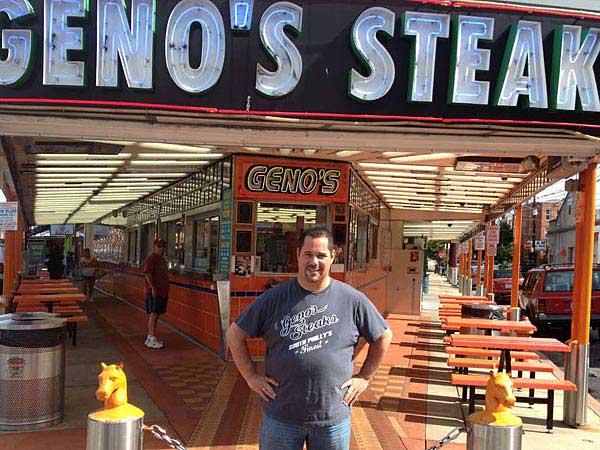 Geno Vento, son of Geno´s Steak founder Joey Vento, outside the shop at Ninth Street and Passyunk Avenue.  (Michael Hinkelman/Staff