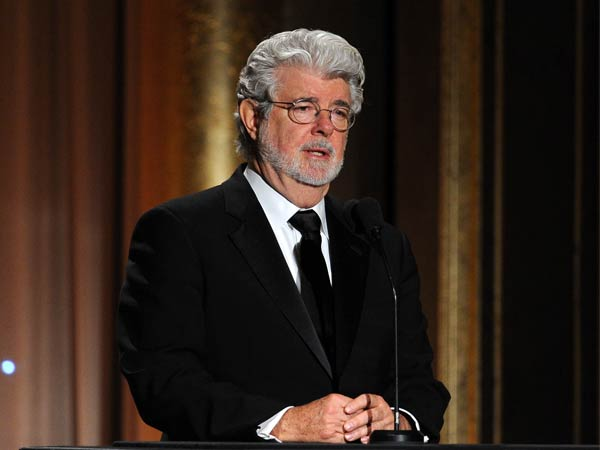 HOLLYWOOD, CA - NOVEMBER 16: Filmmaker George Lucas speaks onstage during the Academy of Motion Picture Arts and Sciences´ Governors Awards at The Ray Dolby Ballroom at Hollywood & Highland Center on November 16, 2013 in Hollywood, California. (Photo by Kevin Winter/Getty Images)