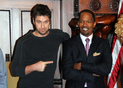 Gerard Butler and Jamie Foxx<br />stars of &acute;Law Abiding Citizen&acute; are welcomed to Philadelphia during a press conference at Philadelphia City Hall in January.<br />