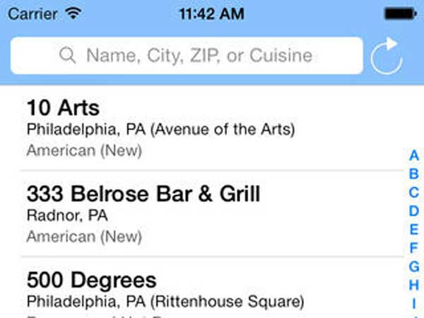 Screenshot of Gluten Free Philly app.