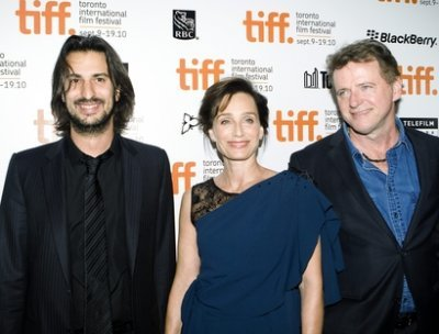 Director Gilles Paquet-Brenner, left, with his stars Kristin Scott Thomas and Aidan Quinn.