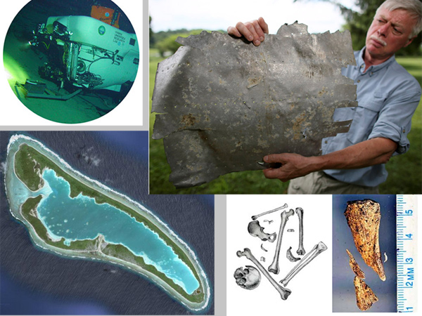 Mini-subs (top left) could look for wreckage of Amelia Earhart´s plane in September off a remote Pacific island, Nikumaroro (bottom left), where mysterious bones were found in 1940, three years after her plane vanished. Leading the hunt is Ric Gillespie, shown holding a metal sheet, possibly from her plane, that his wife found on the island.