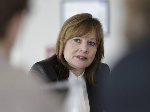 File-This photo taken Jan. 23, 2014, shows General Motors CEO Mary Barra addressing the media during a roundtable meeting with journalists in Detroit. (AP Photo/Carlos Osorio, File)