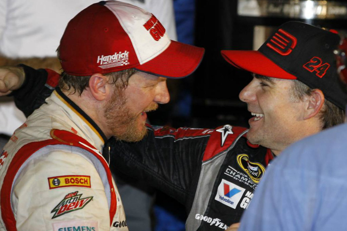 Jeff Gordon (right) is filling in for Dale Earnhardt (left), who is recovering  from concussion symptoms.<br />