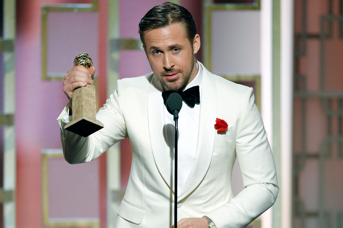 Ryan Gosling accepts the award for best actor in a motion picture musical or comedy for &quot;La La Land.&quot;<br />