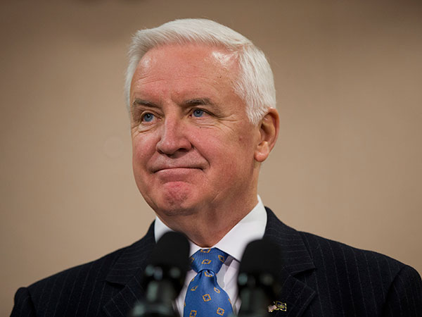 Gov. Tom Corbett speaks during a news conference Friday, Jan. 17, 2014, in Philadelphia.  (AP Photo/Matt Rourke)