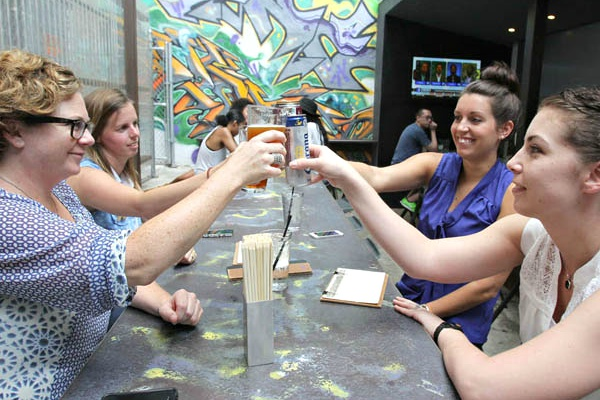 Cheers: It's Graffiti Bar, outside of Sampan in Center City.