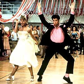 "Olivia Newton-John and Travolta in ""Grease"""