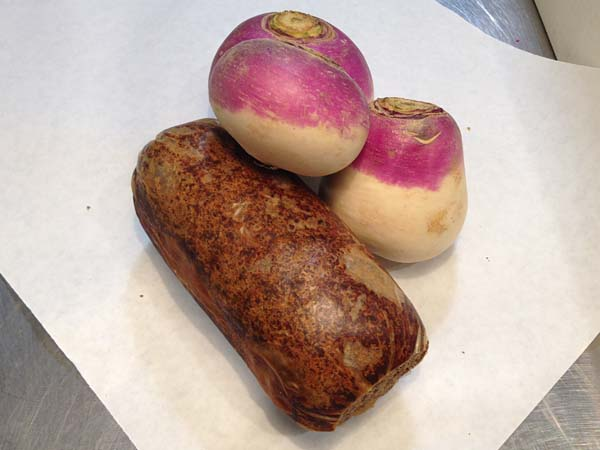 Haggis loaves, turnips. A sign of Robert Burns´ birthday at Border Springs Farm.
