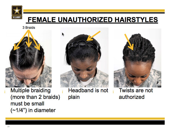Female service members can wear multiple braids but they have to be small - about a quarter inch in diameter.
