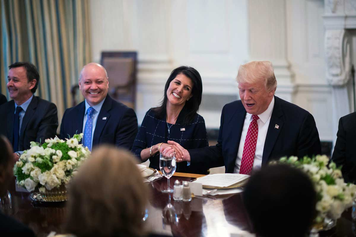 President Trump with U.N. Ambassador Nikki Haley during a working lunch with ambassadors of countries on the United Nations Security Council.