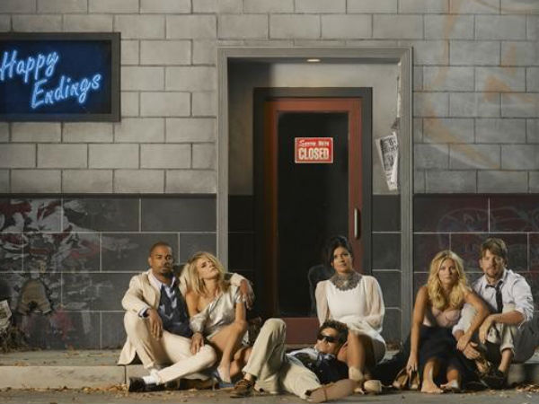 """Happy Endings"" stars (from left): Damon Wayans, Jr., Eliza Coupe,  Adam Pally, Casey Wilson, Elisha Cuthbert and Zachary Knighton"