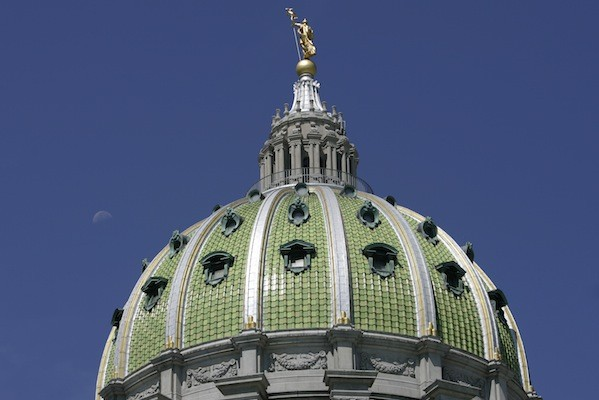 The dome of the Pennsylvania State Capitol building in Harrisburg.