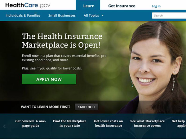 This photo provided by HHS shows the main landing web page for HealthCare.gov. . (AP Photo/HHS)