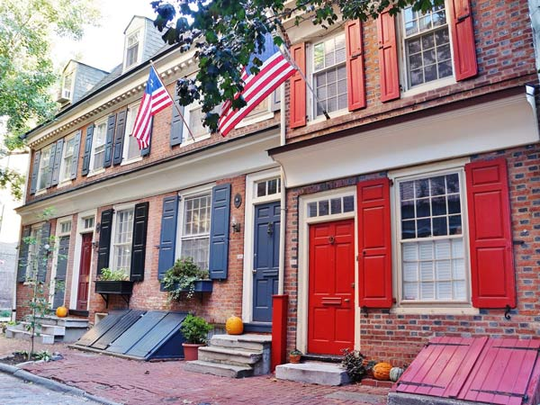 "Old City is one of the neighborhoods ranked as the ""hottest neighborhoods in Center City"" in a new report from Berkshire Hathaway HomeServices Fox & Roach. The houses pictured here are on the 100 block of Cuthbert Street."