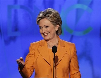 Sen. Hillary Rodham Clinton, D-N.Y., addresses the delegates at the Democratic National Convention in Denver, Tuesday, Aug. 26, 2008. (AP Photo/Ron Edmonds)