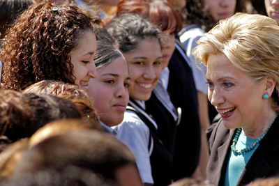 After her speech, Clinton greeted students outside Esperanza Academy Charter School School.