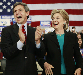 Clinton and Sestak at Radnor High. (AP Photo by Charles Dharapak)