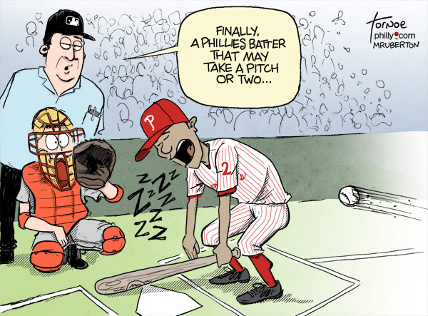 Ben Revere Phillies hitting Tornoe sports baseball cartoon