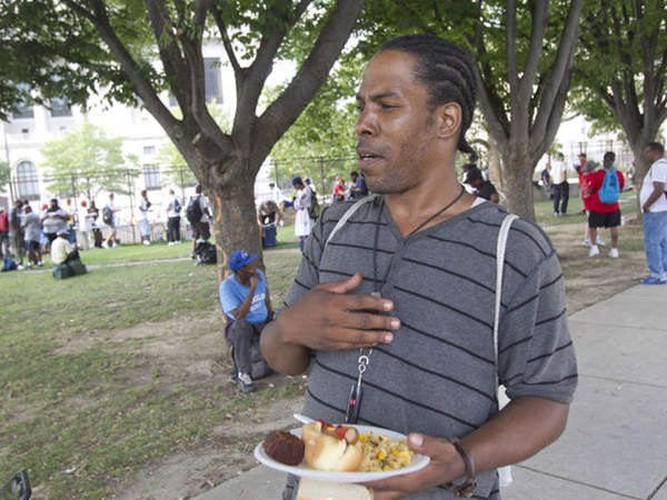 Andre Watkins believes the pope would want to see the homeless and the work of nonprofit groups. ( CHARLES FOX / STAFF PHOTOGRAPHER )
