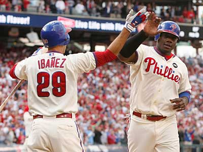Ryan Howard celebrates after scoring a run in the sixth inning of Game 1 of the NLDS. (Ron Cortes/Staff Photographer)