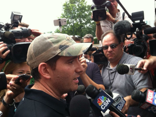 Howie Roseman met with reporters on the first day of training camp for the Eagles at the NovaCare Complex.