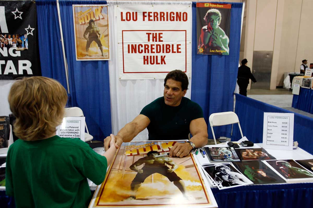 Lou Ferrigno, best known as &quot;The Incredible Hulk,&quot; signs photos at  Wizard World Philly at the Pennsylvania Convention Center in 2008.<br /><br /><br /><br />
