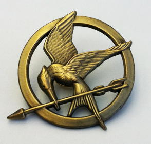 "The Mockingjay pin, from ""The Hunger Games"""
