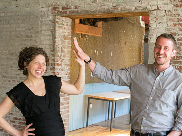 Laurel Klein and Tom Wingert of Impact Hub Philadelphia in the space in South Kensington.