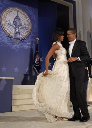 Michelle Obama and Barack Obama dancing at one of the inaugural balls.
