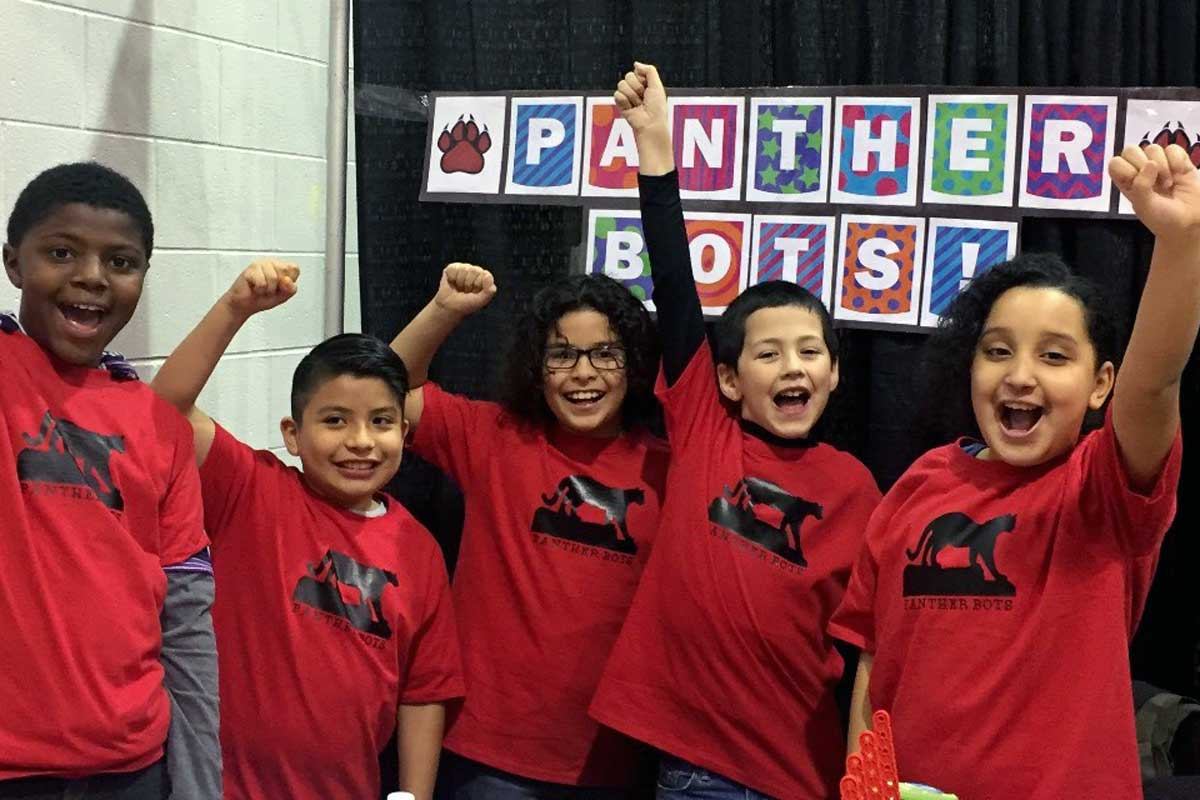 From left: Elijah Goodwin, 10, Angel Herrera-Sanchez, 9, Jose Verastagui, 10, Manuel Mendez, 9, and Devilyn Bolyard, 9, are headed to the VEX IQ worldwide robotics competition, which starts Sunday in Louisville. The five fourth-graders are members of the Panther Bots at Pleasant Run Elementary School in Indianapolis.