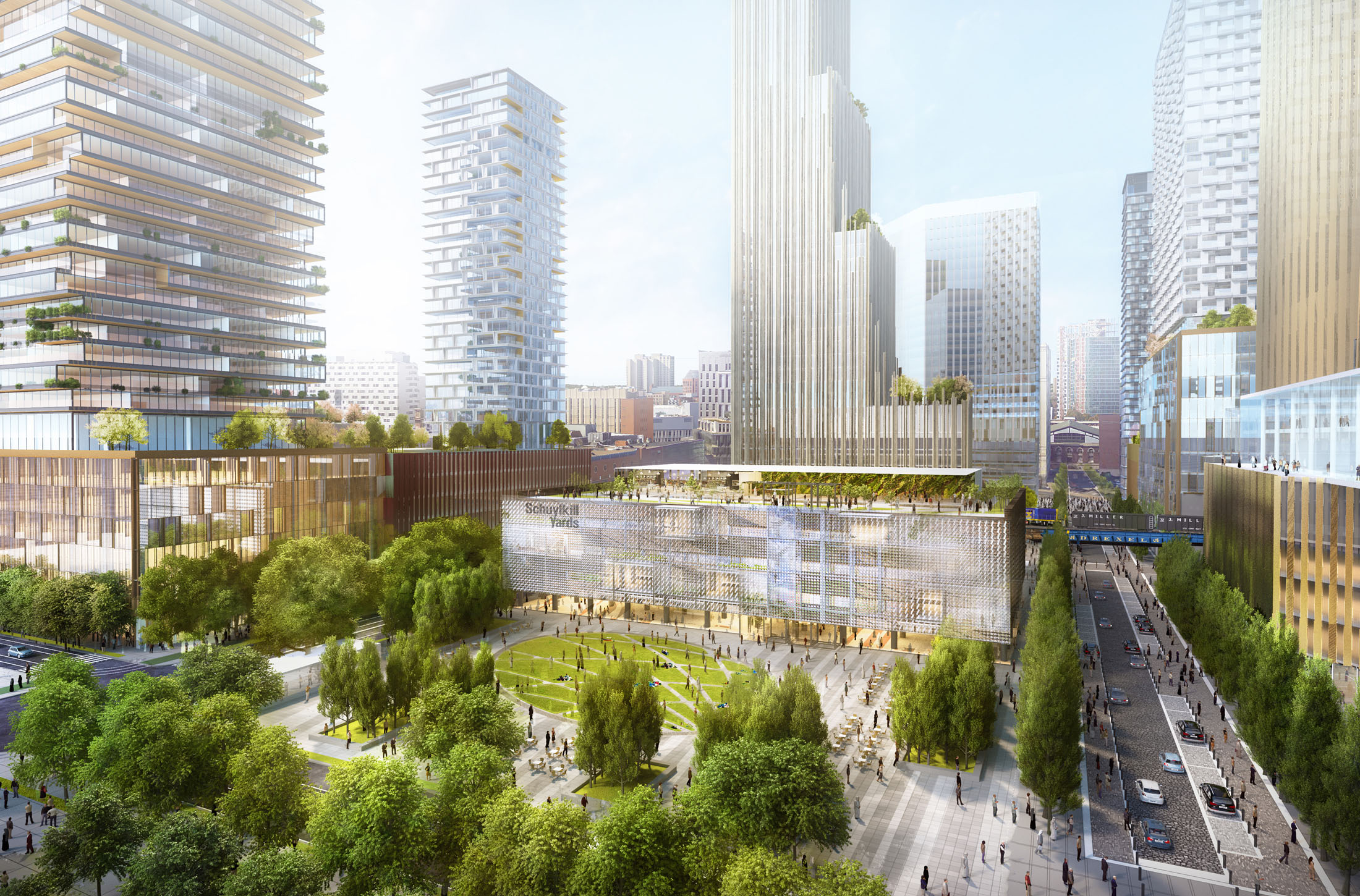 Rendering of Schuylkill Yards,  Drexel&acute;s plan for an &acute;innovation<br />neighborhood&acute; around 30th St Station.