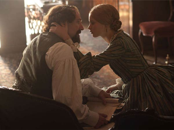 A tender, unguarded moment for Ralph Fiennes as Charles Dickens and Felicity Jones as his mistress Nelly Ternan.