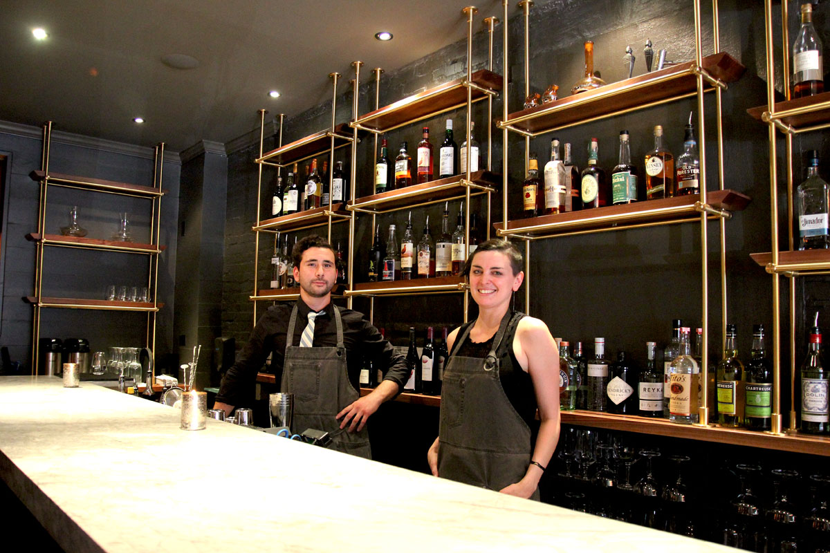 Bartender Gabe Fellus and manager Jordan Stalsworth behind the bar at ITV, 1615 E. Passyunk Ave.