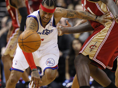 Allen Iverson will miss Friday´s game against Boston with an injured left knee. ( Ron Cortes / Staff Photographer )
