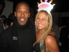 Jamie Foxx at G Lounge with Sabrina Tamburino of the Greater Philadelphia Tourism Marketing Corp., celebrating her birthday.