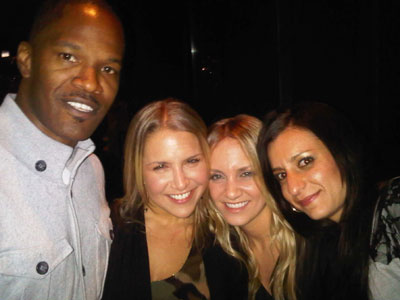 Jamie Foxx with Dana Brajer, Amanda Brajer and Natalie Etskovitz at R2L