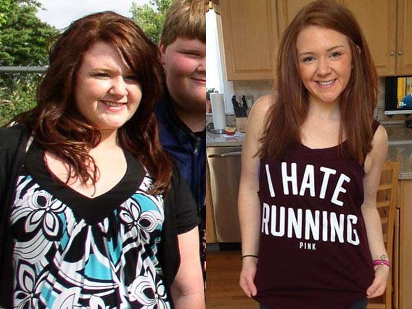"""Jennifer Piccolo lost 70 pounds after graduating high school, and recommends that people looking to start their weight loss journey """"start slow."""" Photos via PopSugar."""