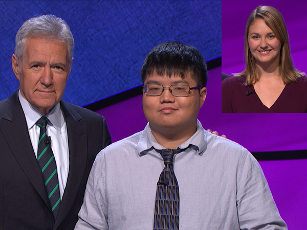 """Swarthmore grad Arthur Chu (center) won """"Jeopardy!"""" on Jan. 28, 2014, then made a talked-about bet that let Carolyn Collins (inset) tie with him on Jan. 29. Their return was set for Jan. 30. At left is the show´s host, Alex Trebek."""
