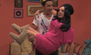 That´s Martin Short as Vinnie and Snooki in his one-man ´Jersey Shore´ spoof