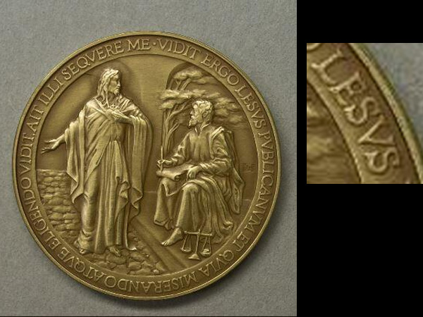 "Jesus´ name was misspelled as ""Lesus"" on a medal recalled by the Vatican on Oct. 8, 2013. The four that sold were likely to become collectors´ items. The medal was issued to commemorate Pope Francis´ first year as leader of the Catholic Church."