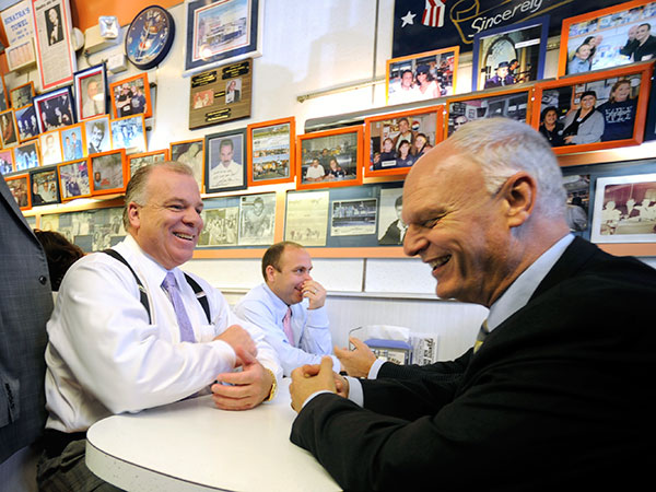 Atlantic City Mayor-elect Don Guardian (righ) at the White House Sub Shop in Atlantic City with N.J. Senate President Steve Sweeney (left).  (TOM GRALISH / Staff Photographer)