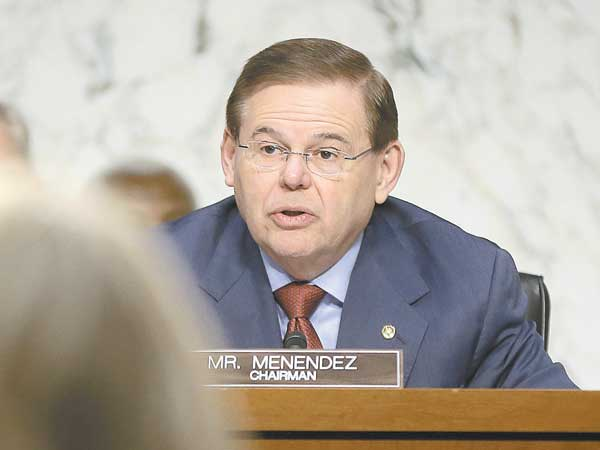 Sen. Robert Menendez, D-N.J., speaks on Capitol Hill in Washington, Wednesday, Jan. 23, 2013, during the committee´s hearing on the deadly September attack on the U.S. diplomatic mission in Benghazi, Libya, that killed Ambassador Chris Stevens and three other Americans.  (AP Photo/Pablo Martinez Monsivais)